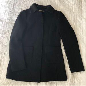 LOFT Black Pea Coat Texture Ribbed Buttons